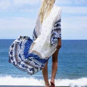 New Gorgeous Aztec Kimono Swim Cover Up Duster
